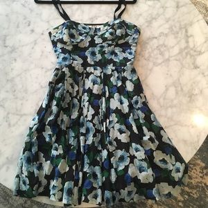 Blue Floral Short Dress
